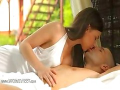 Brunette couple enjoy bang on vacation