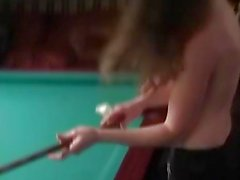 Horny Waitress At Billiards Gets Naked And Blowjob