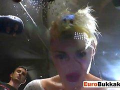 Funky blonde girl hardcore bukkake drinks cum and piss