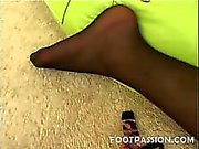 Asian model Annie Cruz has nice looking slender feet that could satisfy any horny foot lover's craving for a hot foot job and foot worship. Watch this naughty Asian beauty in sexy black stockings dish out a nasty cock pampering using her soft, delicate pi