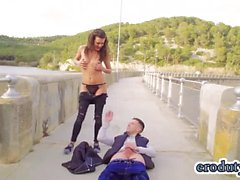 Russian pornstar public sex with cumshot