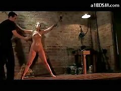 Blonde Girl Tied To Wall Whipped Tortured With Clipps In The Dungeon