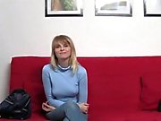 Blonde amateur babe gets anal creampie on casting