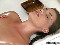 Massage Rooms Two horny girls fill each other