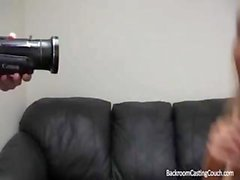 Blonde is on the casting couch and blows and bangs for mouthful