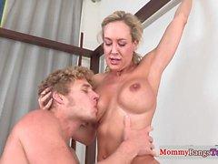 Bigtitted taboo stepmom fucking in threesome