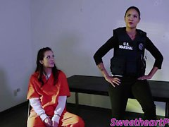 Cute Gia Paige and Dana Vespoli in lesbian prison sex