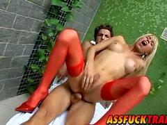 Hot shemale Shakira Maya in red lingeries gets fucked hard