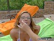 Kristen cameron and Briana Ray seduce their busty neighbor