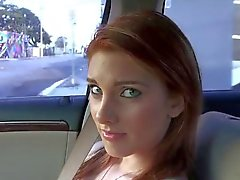 Busty gal banged in the car and facialed