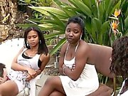 Ebony Babes using a new white slave