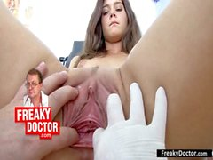Hot czech brunette Monika gets fingered by daddy doctor