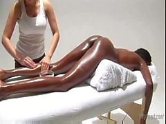 very hot! white girl massaging black ebony princess and masturbate her