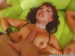 Charlee and her MILF friend share a cock