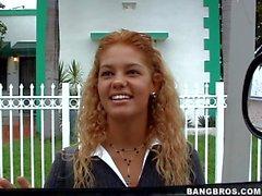 Amateur blonde Melanie gets in to bang bus