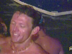 Drunk party girls enjoy the orgy in the pool