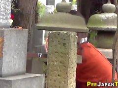 Japanese babe sprays pee