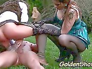 Golden shower skanks drenched in piss