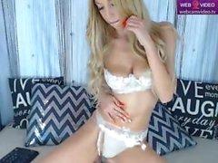Sexy blonde BelleU in white lingerie