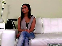 Fake agent cums on an amateur in POV