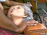 Old grandma getting fucked by a big dick!