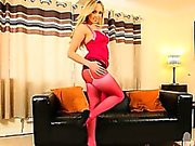Rosafarbenen Polyamid und Strumpfhosen ist meine Geschlechtsleben