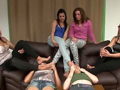 Two Slaves Worship 4 Girls! t