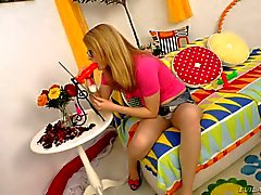 Four-eyed nerdy blonde Daikiri can't wait to give red dildo