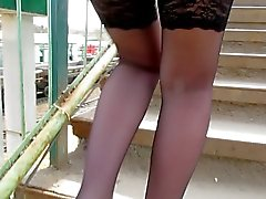 Black Stockings Upskirt
