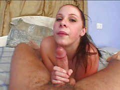 Cum in mouth of busty hot girl