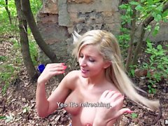 Cock sucking orgy in the forest with Cindy Loarn