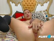 Adan Sexy on Flirt4Free - Enfraquecida Twink nas meias tem Fun with Dick & Ass