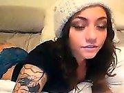 Pretty Tattooed Cam Girl Strips