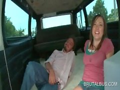 Teenage sweetie convinced to gets nasty in the bus