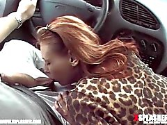 Dude gets a blowjob in the car
