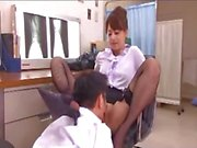 Lady Doctor Dominating Her Assistant Watching Jerking Guy Getting Her Pussy Licked Riding On Guy On The Floor In The Surgery