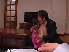 Japanese babe having her boobs tortured