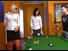 Two bitchy teens win at pool and fuck a looser right on a pool table