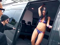 Texas Patti riding cock in the backseat of a German van