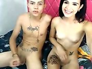 Shemale rides her bisexual lover on cam.