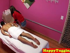 Smalltitted asian masseuse wanking in massage