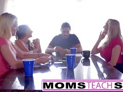 Step mom fucks teen daughter and friends