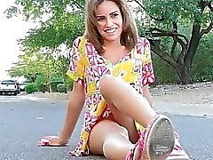 Outside she does more upskirt on a street Natasha