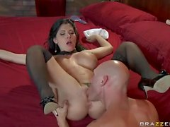 Rebeca Linares enjoys big cock in her pink hole