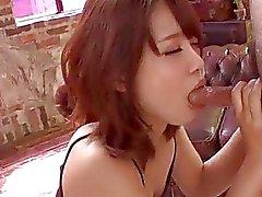 Small tits Yura Kurokawa pleases two fat dicks