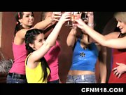 Six crazy girls undress and fuck a stripper and a waiter at