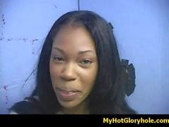 Initiating black girl in the art of interracial gloryhole blowjob 5