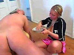 Crazy Cock Milking Blonde Teen x Oldman