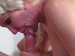 Blonde granny Dalny Marga sucking dick