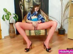 Euro girlie Alice got super legs and gorgeous red nylon nylons